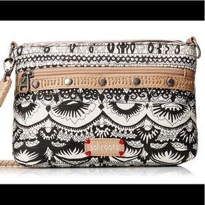 Sakroots campus black and white crossbody bag